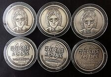 WHOLESALE - 6 JOHN LENNON SILVER MEDALS COINS NUMBERED LTD EDITION & CoAs