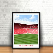 Old Trafford Manchester United Inspired Football Art Print Stadium Design