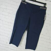 JM Collection Pants Womens Petite Large PL Navy Capri Comfort Waist MSRP $50