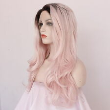 Pink Cosplay Wig Long Natural Wavy Lace Front Synthetic Wigs For White Women 22'