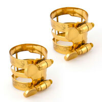 2 Pcs Gold Carving Ligature for Alto Sax Mouthpiece And Clarinet Replacement
