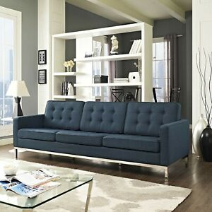 Sofa Couch In Azure -Mid-Century Modern Tufted Upholstered Fabric (Living Room)