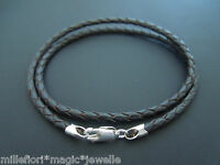 "3mm Brown Braided Leather & Sterling Silver Necklace Or Bracelet 16"" 18"" 20"" etc"