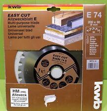 KWb Corte Fácil HM Hoja multiusos E 74 - Dm. 200 x 1,8 x 30mm - 30 Zähne