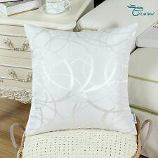 "2pcs Pillow Cushion Cover Modern Circles Rings Geometric18""x18"" White"