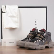 GUCCI x SEGA 980$ Flashtrek Sneakers In Grey Canvas, Leather & Suede