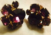 Vintage Earrings Amethyst Cluster Gold Gilt Screw back Coro 1950's 1960's