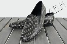 SAINT LAURENT 1500$ Authentic Black Strass Leather Loafers Flats sz 40 10