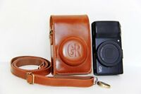 Brown Leather case pouch+ screen protectors for Ricoh GR Digital III / IV camera