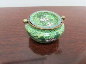 Vintage Chinese Brass Cloisonné Ashtray Incense Burner PRE 1948 CHINA