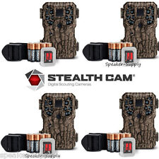 4 Pack Stealth Cam PX18 8MP Camo Bundle Game Trail Deer Camera Cam Batteries SD