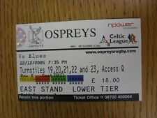 22/12/2005 Ticket: Rugby Union - Ospreys v Cardiff Blues. This item has been ins
