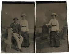 2 Tintypes, Man & Lady in White Blouse & Hat, Different Views (c1885)