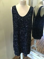 Navy Sequin French Connection Dress Size 16 New With £175 Tag Attached