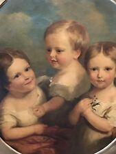 Antique FOLK ART  Portrait Painting John J. Hardwood  3 Children of Rev. Rhodes