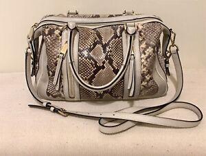 Michael Kors Snake Print Satchel Shoulder Bag Purse Crossbody Double Handles
