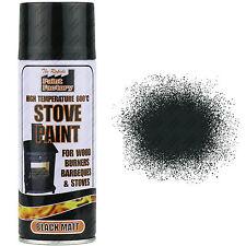8 x 400ml Heat Resistant Matt Black Spray Paint Stove Exhaust High Temperature