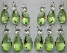 12 CHANDELIER CUT GLASS LIGHT CRYSTALS SAGE GREEN DROPLETS BEADS OVAL FENG SHUI