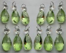 12 Candelabro Cristal Tallado Luz Verde Salvia Elementos Cuentas Ovalado Feng