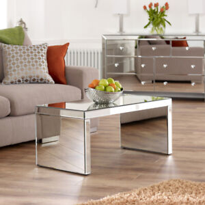 Venetian Mirrored Small Coffee Table - Rectanuglar Modern Living Glass  - TFM2