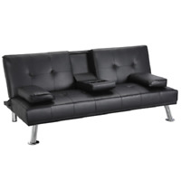 Modern PU Leather Sofa Bed Futon Durable Black With Cup Holders & Pillows
