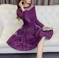 Women Korean Elegant A-Line Dress Scoop Neck Long Sleeve High Waist Lace Dresses