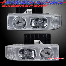 Pair 1 Piece Style Euro Clear Headlights for 1995-2005 Astro Van and Safari