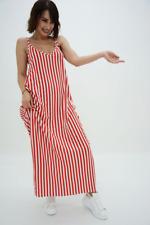 ASOS BRETON STRIPE MAXI SMOCK DRESS RED/white sz 16/18 slip BEACH dress new