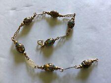 14k Yellow Gold Multi Overlay Blue Stone Bracelet (Handmade)
