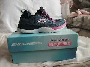 Skechers Girls Blue & Pink Slip-On Trainers Size UK 10