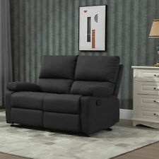 Manual Recliner 2 Seater Sofa Linen Fabric Upholstered Home Theater, Grey