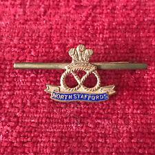 WW1 North Staffordshire Regiment Enamel Sweetheart Brooch Badge Military CT2/2