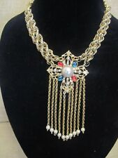 Vintage Maltese Cross Cabachon & Pearl Statement Necklace-A Repurposed Original!