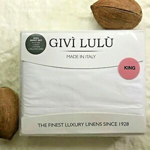 GIVì LULU Solid Cotton Percale 200TC Made in Italy KING Sheet Set, White