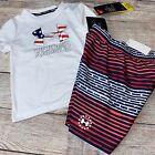 Under Armour 2T 3T 4 5 6 7 Patriotic Flag Rash Guard Swimsuit Set Trunks NEW