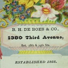 1870's-80's B.H. De Boes & Co. 3rd Ave, NY Furniture Bedding Trade Card F76