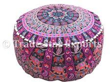 Mandala Pouf Ottoman Cover Large Seating Poufs Cotton Boho Footstool Cover Case