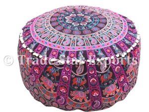 Mandala Ottoman Pouf Cover Large Seating Pouffe Case Hippie Cotton Footstool