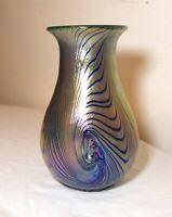 vintage hand blown aurene pulled iridescent art studio glass dimple vase