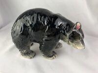 VINTAGE 1950'S HAND PAINTED PORCELAIN BLACK BEAR FIGURINE FOIL STICKER