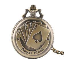 Antique Cool Royal Flush Poker Card Design Quartz Pocket Watch Necklace Pendant