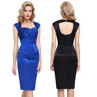 Retro 1940's 50's Vintage Style Bodycon Pin Up Evening Party Wiggle Pencil Dress