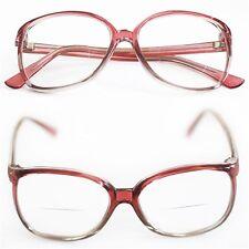 Reading Glasses Bifocal OFFICE Oval Large Frame Polished ROSE GRAY +2.25  Lens