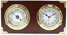 Two Porthole Quartz Clock and Barometer on Teak Finished Wood. Wall mount