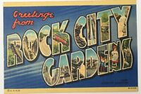 Old Linen Era Postcard Greetings From Rock City Gardens Atop Lookout Mountain GA
