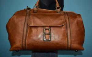 FOSSIL 'ESTATE Framed Duffle' Brown Leather Flap Shoulder Weekender Unisex Bag