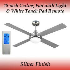 Revolve 48 inch Ceiling Fan in Brushed Chrome with Light and White Touch Remote