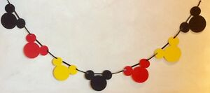 MICKEY MOUSE STYLE BANNER BIRTHDAY PARTY  CAKE SMASH BLACK RED YELLOW (12 HEADS)