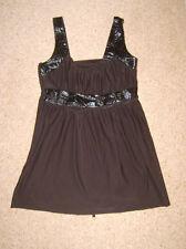 Top donna nero bagnato PVC dettaglio M 12 1960s 1970s Hippy Costume *