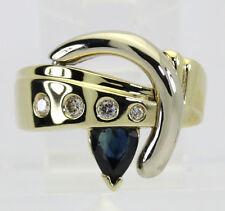 Diamante azul spinel anillo 14K dos tonos oro pera Etoile VS brillante redondo